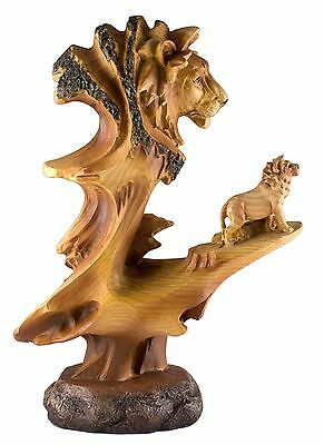 Lion Carved Wood Look Figurine 9.25 Inch High Resin New In Box!