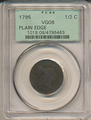1795 Plain Edge, No P Half Cent Vg8Bn Pcgs
