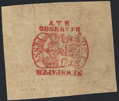 UK GB SCOTLAND 1890's AYR OBSERVER ONE PENNY NEWSPAPER POSTAGE PAID IN RED