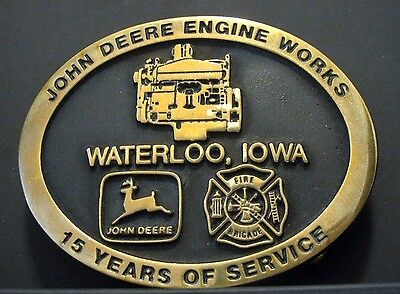 John Deere Engine Works FIRE BRIGADE Belt Buckle 1990 15 Year Employee 55 MADE