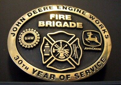 John Deere Engine Works FIRE BRIGADE Belt Buckle 2005 30 Year Employee Ltd Ed 17