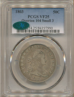 1803 Small 3 50C Vf25 Pcgs Cac  Overton 104 Small 3