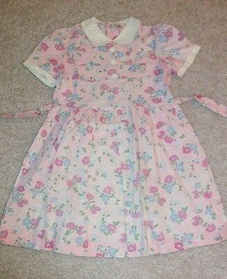 Vintage 50s PINK Floral print Girls Full Skirt Cotton Dress FRUIT OF THE LOOM