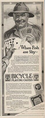 1920 Bicycle US Playing Cards Co Cincinnati OH When Fish Are Shy Art Ad