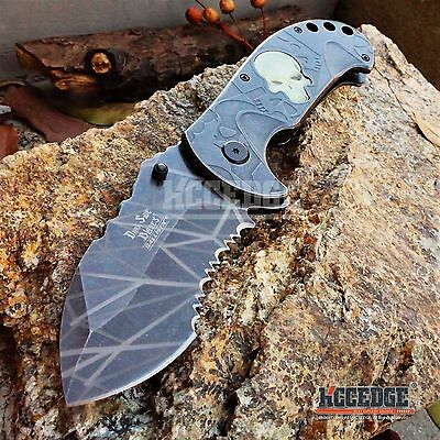 "8"" 4MM GLOW In The DARK SKULL HUNTING COMBAT Assist Open STONEWASH Pocket Knife"
