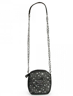 * New LOUNGEFLY Crossbody Bag HELLO KITTY Purse SANRIO Metal Chain GREY LEOPARD