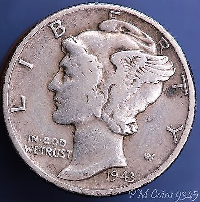 1943 United States US 10 cents dime winged mercury, 90% silver *[9345]
