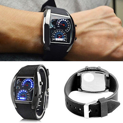 Stylish Men's Stainless Steel Sport Analog Quartz LED Wrist Watch Black Watch