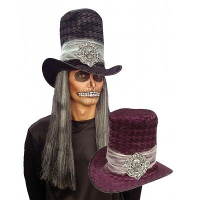 8532V[Vio] - Cappello Cilindro Con Teschio Viola Halloween Party Copricapo Adult