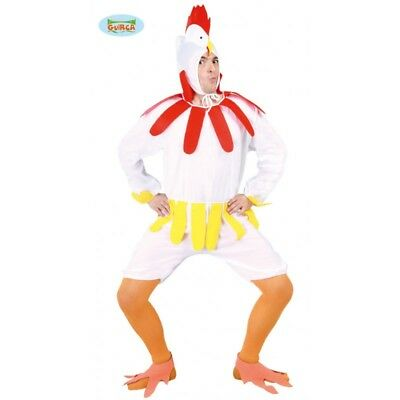 80605 - Pollo Gallina Costume Gallo Animali Adulto Carnevale Festa Party Vestito