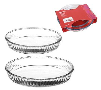 Set Of 2 Glass Quiche Flan Pie Tapas High Temperature Roasting Baking Dish