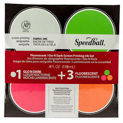 Speedball : Glo n' Dark & Fluorescent Fabric Screen Printing Ink Se : Set of