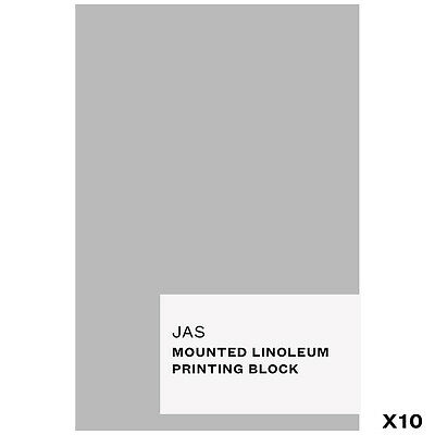 JAS : Mounted Linoleum Printing Block : 10x15cm : Pack of 10