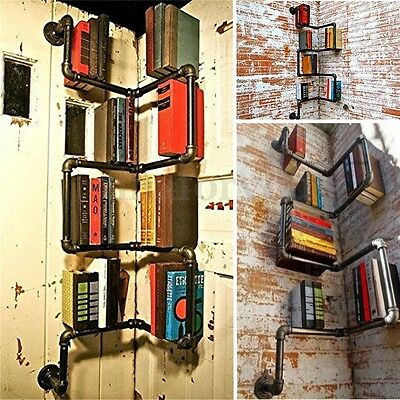 Vintage Industrial Urban Style Retro Pipe Shelf Storage Shelving Book DIY Decor