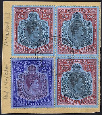 Bermuda 1938 SG117 2/6 Black and Red Perf 13 Block of 3 and Single 2/- Perf 14