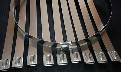 """10PC STAINLESS STEEL 45"""" LENGTH EXHAUST HEADER ZIP TIE STRAP BAND 1/2""""W 12x1150"""