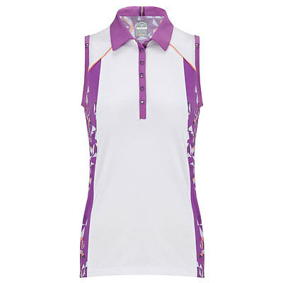 71% OFF RRP Callaway Golf Womens Ava Sleeveless Opti-Dri Golf Polo Shirt