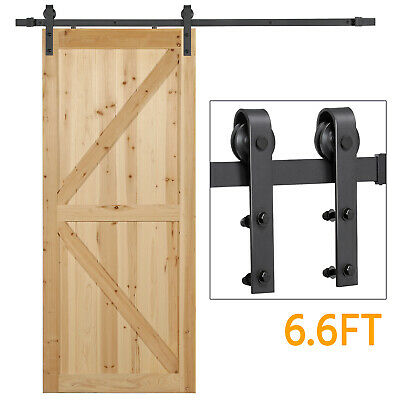 6.6Ft Antique Single Black Steel Sliding Barn Door Hardware Kit Track System Set