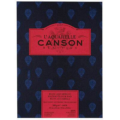 Canson Heritage Watercolour Paper Pad 300gsm 23x31cm 12 Sheets Hot P