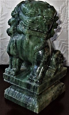 Asian Beautifully Carved Marble Vintage Green Stone Foo Dog Statue