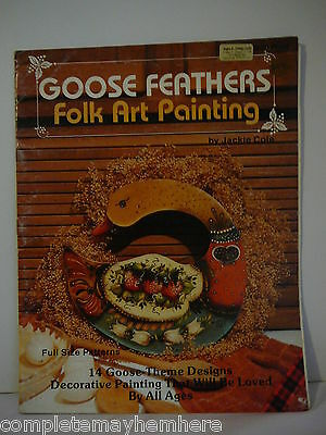 Goose Feathers Folk Art Painting by Jackie Cole tole painting