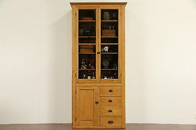 Oak 1900 Pantry Cupboard or Country China Cabinet, Wavy Glass Doors