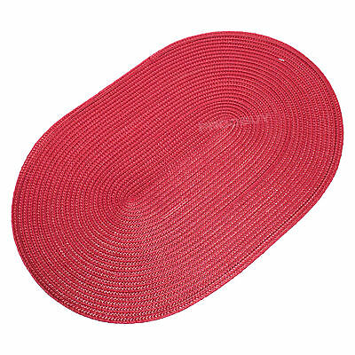 44cm Oval Red Woven Fabric Placemats Table Setting Place Mats Dining Room