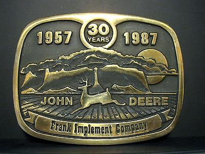 1987 John Deere Dealer FRANK IMPLEMENT COMPANY 30th Annv Belt Buckle Scottsbluff