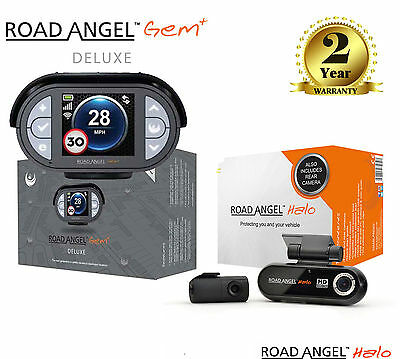 Road Angel Gem Deluxe + Speed Camera Detector + Halo Twin In Car Dash Cam