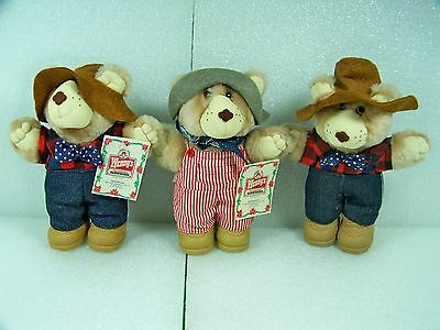 """3 Wendy's Furskins Bears 1986 Mini 7"""" Dudley & Farrell Bear - Great Condition"""