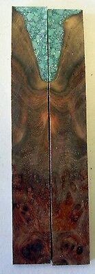 """Maple Hard Burl Inlace Turquoise (2 pc) Knife Scales 3/16"""" x 3/4"""" x 5"""" - 7781"""