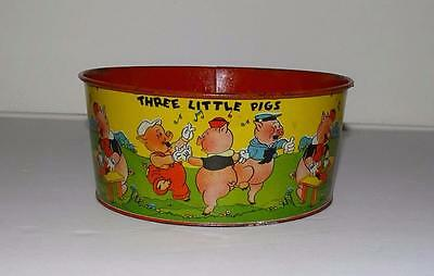 """Disney 1933 Child's Tin Lithographed """"3 Little Pigs"""" Wash Tub-Scarce High Grade!"""