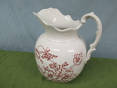 Antique Sydney White Ironstone Floral Red Transferware Large Wash Pitcher