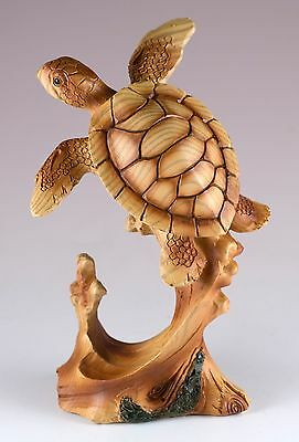 Sea Turtle Swimming Carved Wood Look Figurine 5 Inch High Resin New In Box!