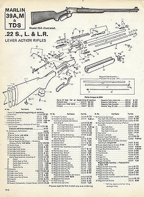 MARLIN 39A, M & TDS RIFLE Schematic Exploded View Parts List 1992 AD