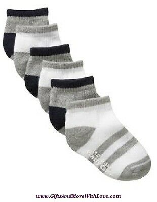 Baby Gap NWT 6 pairs Gray White STRIPED ATHLETIC ANKLE SOCKS 12 18 24 2 3 4 5
