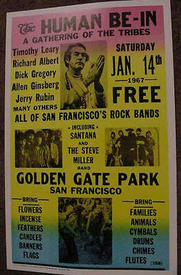 HIPPIE HUMAN BE-IN 1967 POSTER SAN FRANCISCO ART drug 60s California tim leary