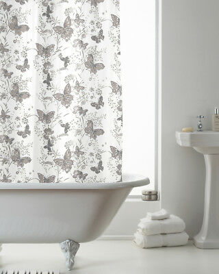Country Club Shower Curtain 180x180 Butterfly Grey Country Flower Bathroom White