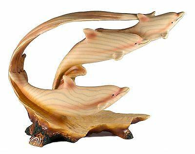 "Three Dolphins Riding Waves Carved Wood Look Figurine Resin 8.5"" Long New In Box"