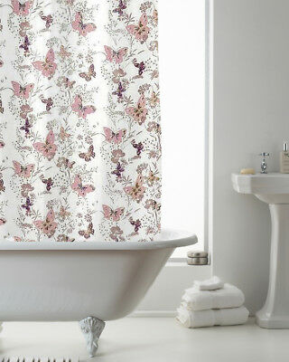 Country Club Shower Curtain 180x180 Butterfly Pink Country Flower Bathroom White