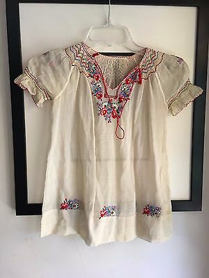 Vintage central/south American sheer festive s/s child's dress w embroidery