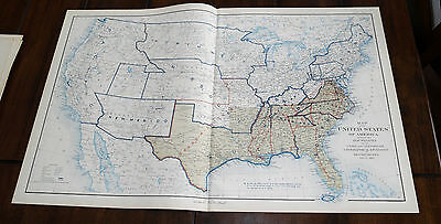 Original 1890s CIVIL WAR US Confederate boundaries DEC 1863 PLATE #168 map