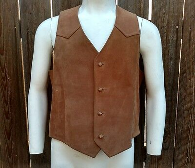 Vintage Men's Western Vest Rodeo Brown Leather Suede Pioneer Wear 44 Beaver