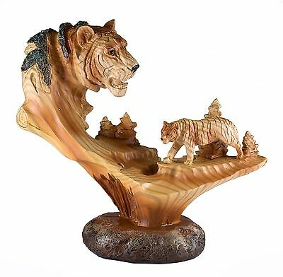 """Tiger Carved Wood Look Figurine 7.25"""" Long Resin New In Box!"""