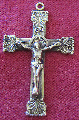 Vintage Catholic Religious Holy Medal - STERLING CROSS CRUCIFIX - ORNATE & NICE