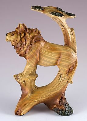 Lion Carved Wood Look Figurine 5 Inch High Resin New In Box!
