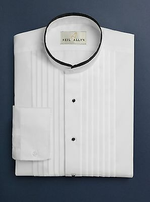 "New Mens Banded Mandarin Collar Tuxedo Shirt w/ Black Trim 1/2"" Pleated All Size"