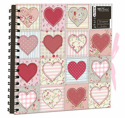 Patchwork Heart Family Scrapbook Photo Album Spiral Bound Black Paper OCCS1