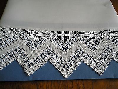 Beautiful Pillowcases ~ Pair ~ Vintage Pure Cotton ~ Unused ~ Hand Crochet Lace