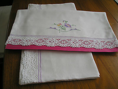 Vintage Pillowcases ~ Pair ~ White Cotton ~Pretty  Embroidery ~ Lace Trim